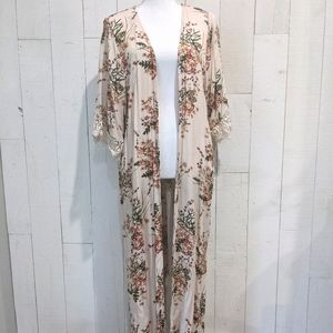 Jodifl Floral Kimono with Lace Embroidered Sleeves